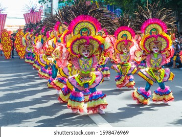 BACOLOD , PHILIPPINES - OCT 27 : Participants in the Masskara Festival in Bacolod Philippines on October 27 2019. Masskara is an annual festival held every fourth Sunday of October