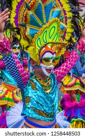 BACOLOD , PHILIPPINES - OCT 28 : Participant in the Masskara Festival in Bacolod Philippines on October 28 2018. Masskara is an annual festival held every fourth Sunday of October
