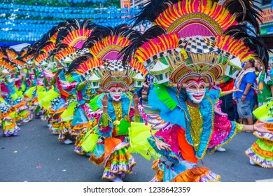 BACOLOD , PHILIPPINES - OCT 28 : Participants in the Masskara Festival in Bacolod Philippines on October 28 2018. Masskara is an annual festival held every fourth Sunday of October