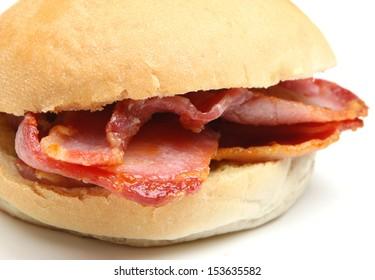 Bacon bap sandwich.