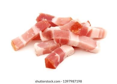 Bacon bits isolated on white background