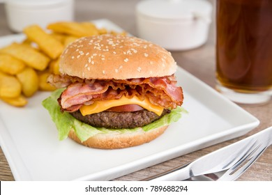 Bacon burger with french fries