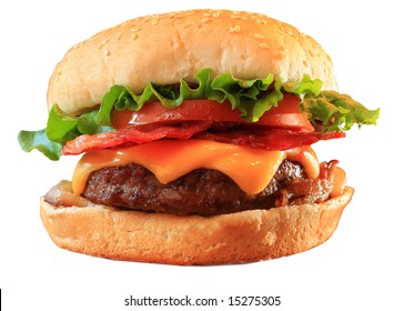 Bacon cheeseburger, isolated on white.