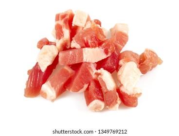 bacon cubes isolated on white background