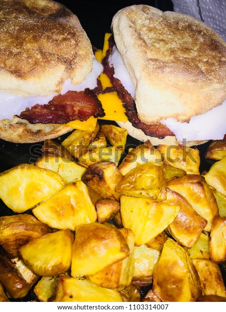 Bacon and egg muffins with roasted potatoes