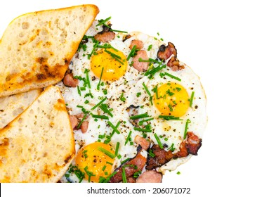 Bacon, eggs and chive with crispy toast, bio product