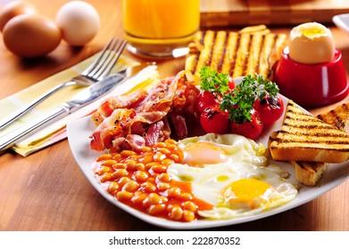 Bacon, eggs and toast breakfast. English breakfast