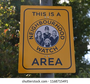 Bacon End, Essex, England, Great Britain. August 25, 2018. This is a Neighbourhood Watch Area  crime prevention sign.