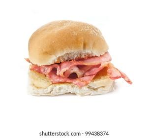 Bacon filled bread roll, bap or bun