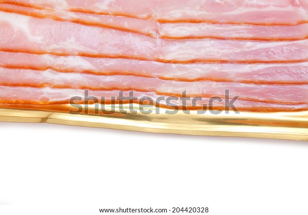 Bacon into the his package on white background.