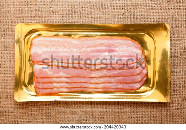 Bacon into the his package, over on burlap