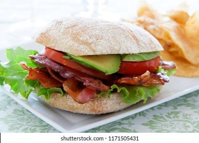 Bacon Lettuce Tomato and Avocado Sandwich