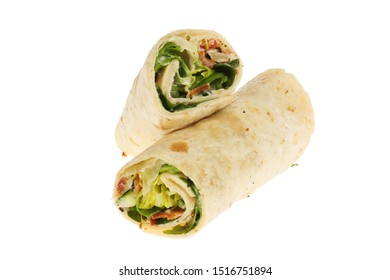 Bacon, lettuce and tomato wraps isolated against white