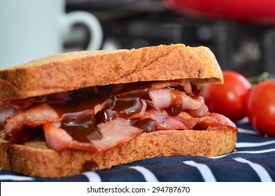 Bacon sandwich with lashings of brown sauce