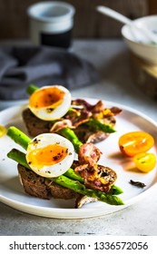 Bacon ,Seared Aspargus and Soft boiled egg  on Rye bread open Sandwich