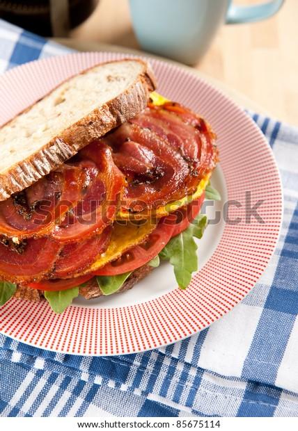Bacon, Tomato, Arugula and Potato Bread Sandwich