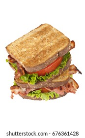Bacon and tomato sandwich isolated on white
