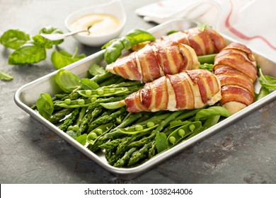 Bacon wrapped chicken breast with asparagus, spring one pan dinner