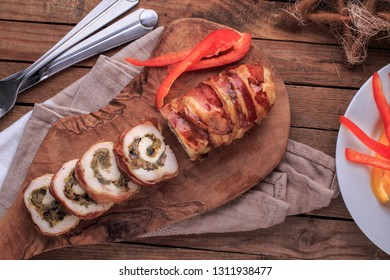Bacon Wrapped Meat Roll. Meat Roll with Bell Peppers. Rolled Stuffed Meat.