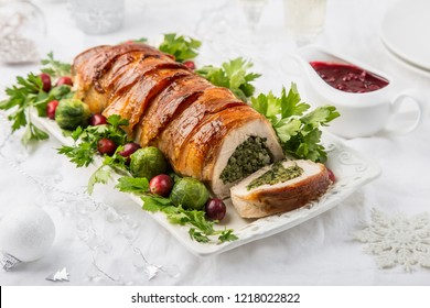 bacon wrapped turkey breast stuffed with spinach and cheese, selective focus
