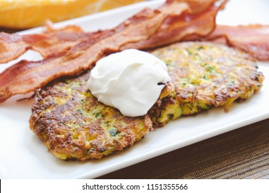 bacon and zucchini latke or fritter