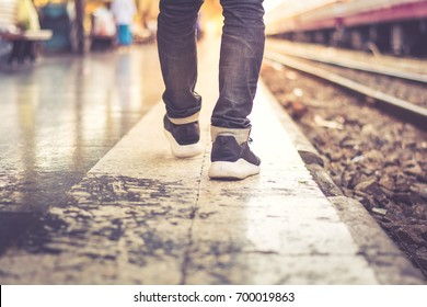 Bacpack walking in train station ,Travel concept.