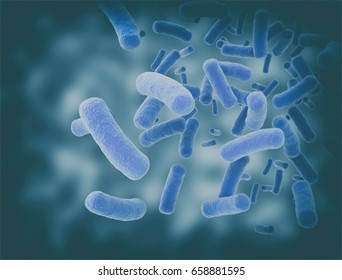 Bacteria and bacterium cells floating. 3d render