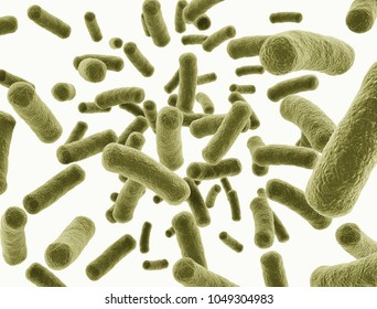 Bacteria cells isolated on white background. 3d illustration