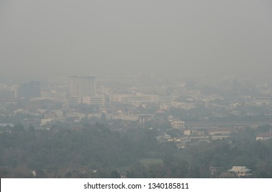 Bad air-pollution (PM2.5) covered Chiang Rai town, the Northern province in Thailand. PM2.5 levels meaning the air quality posed a health hazard.