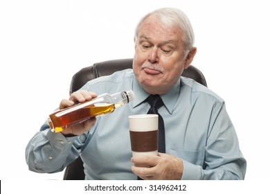 Bad Behavior Employee Series - Senior employee sneaking alcohol into his coffee at work.