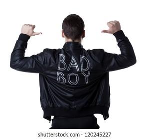 Bad boy portait striptease man in black jacket