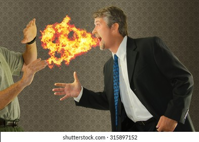 Bad breath chronic halitosis humor with a man breathing fire on someone as he goes to shake hands. Perfect for breath products, mouthwash, social etiquette, dentistry, and health related campaigns.