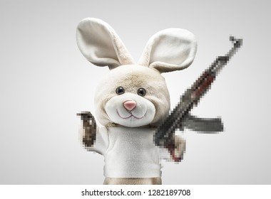 Bad Bunny with guns