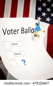 Bad choices on this voter ballot with a toy man