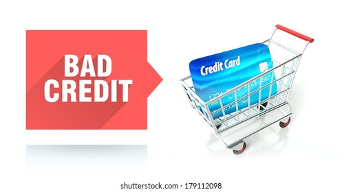 Bad credit score concept with shopping cart