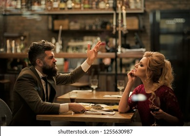 Bad date of couple, dislike and divorce. Business meeting and conflict of man and woman. Anger of woman and man. Break up relations and love. Couple with misunderstanding at restaurant.