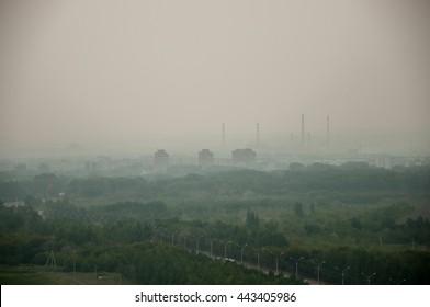 Bad ecology smoke on the city - Ust-Kamenogorsk, Kazakhstan