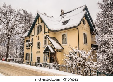 BAD GASTEIN, AUSTRIA - JANUARY 8, 2017: View of hotel in the austrian spa and ski resort Bad Gastein, Austria