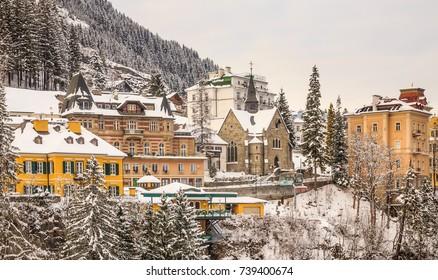 BAD GASTEIN, AUSTRIA - JANUARY 9, 2017: Christophoruskirche.  Austrian spa and ski resort Bad Gastein