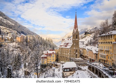 BAD GASTEIN, AUSTRIA - JANUARY 9, 2017: Church of St. Primus and Felitsian. Austrian spa and ski resort Bad Gastein