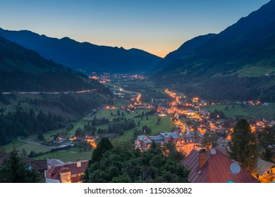 Bad Gastein, Austria, July 5, 2016, Church in Bad Gastein with the Gasteintal and the Alps in the background