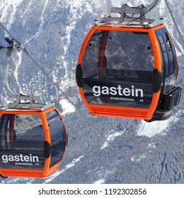 BAD GASTEIN, AUSTRIA - MARCH 10, 2016: Gondolas of cable car in Bad Gastein. It is part of Ski Amade, one of largest ski regions in Europe with 760km of ski runs.
