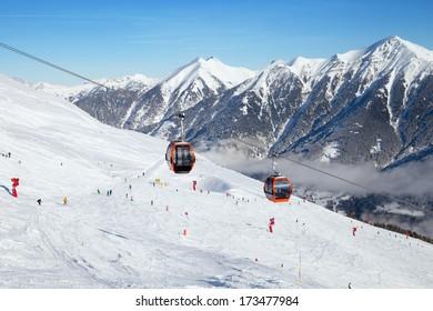BAD GASTEIN - JANUARY 06: Cableway in Bad Gastein ski region, Land Salzburg, Austria on January 06, 2014