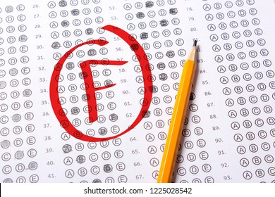 Bad grade F is written with red pen on the tests