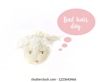 Bad hair day girl with speech bubble