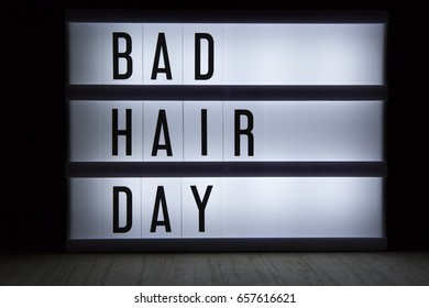 'Bad hair day' text in lightbox