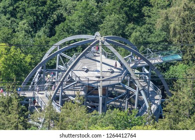 Bad Harzburg, Lower-Saxony, Germany, July 27. 2018: Bad Harzburg, Lower-Saxony, Germany, July 27. 2018: Entrance area and access structure for the treetop path, view from above.