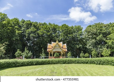 BAD HOMBURG, GERMANY - JULY 7, 2016: the Thai sala temple in Bad Homburg, Germany. The temple was a gift by Thai government and inaugurated in 2007.