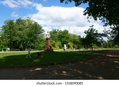 BAD HOMBURG, GERMANY - JUNE 09: The jewelry square with various sculptures of the art exhibition and sculpture biennial Blickachsen on June 09, 2019 in Bad Homburg.