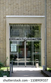 BAD HOMBURG, GERMANY - MAY 19: The entrance to the Federal securities administration, a federal agency of the Federal Ministry for finances on May 19, 2018 in Bad Homburg.